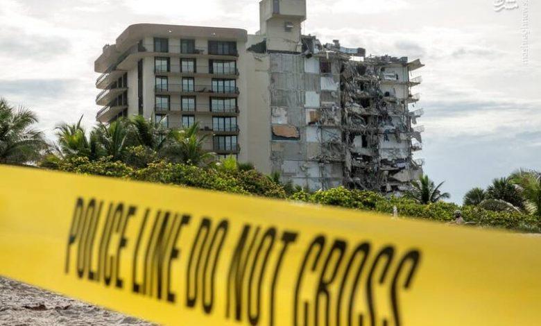 تصویر از بخشهای بهجا مانده از برج فروریخته میامی تخریب میشود
